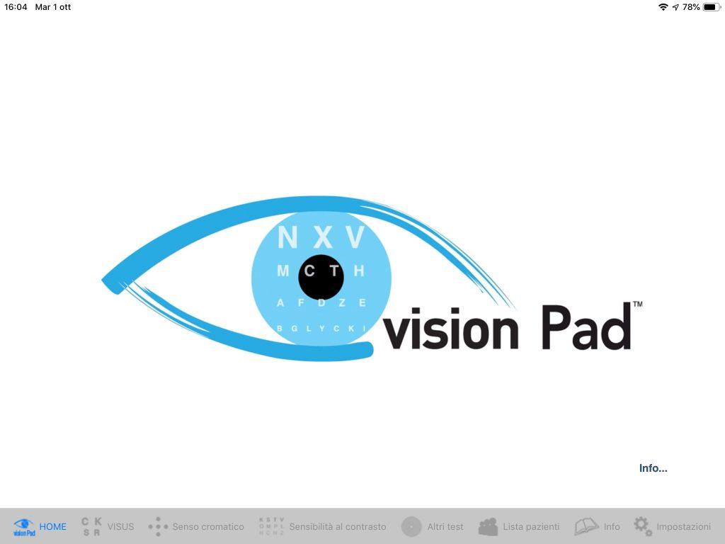 VisionPad - Schermata introduttiva